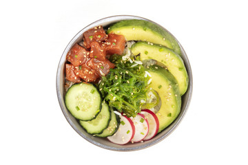 Hawaiian tuna poke salad on white with copy space
