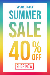 Concept of colourful poster for Summer Sale. Vector.