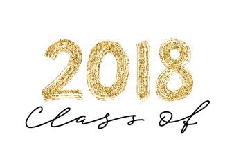 Class of 2018. Hand drawn brush lettering Graduation logo. Modern calligraphy. Vector illustration.