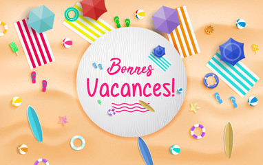 Bonnes Vacances. Summer vacation background vector. Summer holidays and beach holidays.