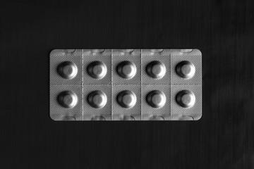 Still-life of medicine in foil packaging