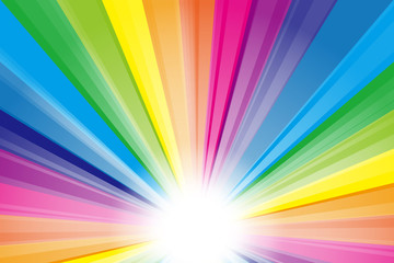 背景素材,虹色,レインボー,スペクトル,日光,お日様,光,光線,放射光,輝き,放射線,集中線,ビーム
