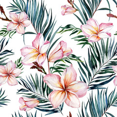 Pink plumeria flowers and exotic palm leaves in seamless tropical pattern. White background.  Watercolor painting. Hand drawn and painted floral illustration. Fabric, wallpaper design.