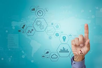 Wall Mural - Modern computer virtual screen. Business technology and internet concept. IOT.