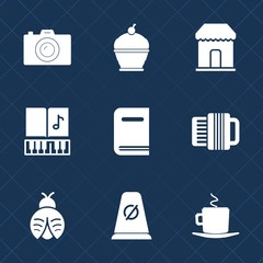 Premium set with fill icons. Such as sweet, cafe, market, road, street, cake, pastry, melody, shop, library, accordion, delicious, dessert, musical, pie, lady, lens, store, education, cup, bug, photo