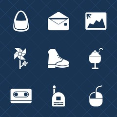 Premium set with fill icons. Such as letter, young, bag, ice, photography, audio, female, fashion, child, mail, dessert, food, white, tape, web, mouse, computer, technology, accessory, cream, retro