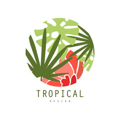 Tropical logo template design, round badge with palm leaves and red exotic flower vector Illustration on a white background