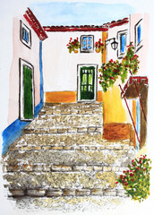 Portugal. Watercolor drawing of the ancient town of Obidos. City sketch.