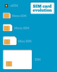 SIM card evolution concept in flat style