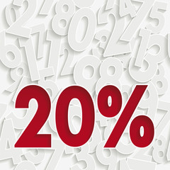 20 percent discount. Poster to announce sales. The white numbers in the background are a seamless pattern that can be adapted to different formats.