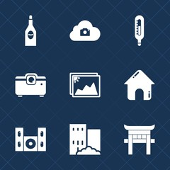 Premium set with fill icons. Such as torii, estate, winery, home, cold, photo, frame, internet, wine, meteorology, wineglass, travel, projector, japan, film, video, cloud, speaker, sign, thermometer