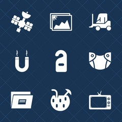 Premium set with fill icons. Such as technology, photo, summer, white, old, cargo, blank, motel, transport, transportation, label, glass, satellite, cocktail, tv, delivery, business, picture, file