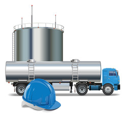 Vector Oil Industry Concept with Tank Truck