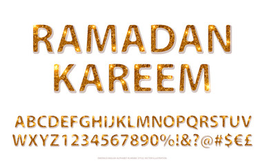 Golden English alphabet in Islamic style.