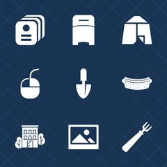 Premium set with fill icons. Such as old, identity, house, technology, computer, interior, frame, id, estate, outdoor, summer, name, internet, food, fork, identification, adventure, meat, sausage, bed