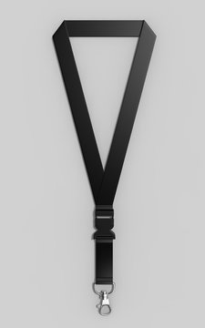 Blank Lanyard with metal snap hook and detachable plastic buckle for print design presentation. 3d render illustration.