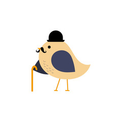 Vector bird with hat, mustache and walking stick