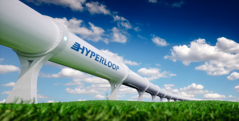 Hyperloop transportation concept. Futuristic transportation technology in fresh spring nature. 3d rendering.