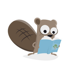 funny cartoon beaver reading a book