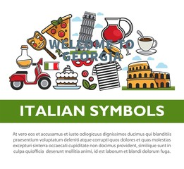 Italian national symbols promotional poster with sample text