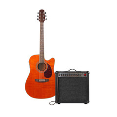 Music and sound - Orange acoustic guitar, amplifier and cable front view isolated