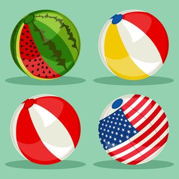 Beach ball set with patterns of the american flag, watermelon and classic colors. Vector cartoon flat icons isolated on background.