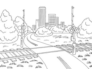 Railroad crossing road graphic black white city landscape sketch illustration vector
