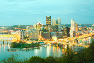 Panoramic view of Pittsburgh and the 3 rivers at night, Pittsburgh, Pennsylvania, USA