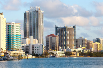 Buildings at North Beach and Mid Beach, Miami Beach, Florida, USA