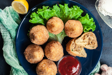 Coxinha. Fried croquette with chicken