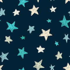 Vector kids pattern with doodle textured stars. Vector seamless background, blue, gray, white, scandinavian style