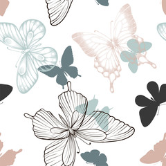 Seamless pattern with decorative butterflies in scandinavian style. design greeting card and invitation of the wedding, birthday, Valentine s Day, mother s day, fabric, textile.