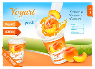 Fruit yogurt with peach advert concept. Yogurt flowing into a plastic cup with fresh peach. Design template. Vector.