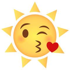 Sonne Emoji Kussmund mit Herz