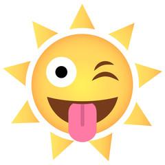 Sonne Emoji Zunge rausgestreckt