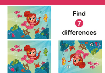 Find 7 differences education game for children, featuring little mermaid.(Vector illustration)