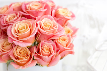 Beautiful pink roses in a round box. Peach roses in a round box. Roses in a round box on a white wooden background. Roses in a Hat Box