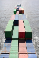 Aerial view of freight containers on barge