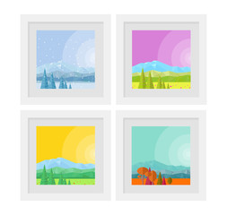 vector flat illustration of paintings in frames with nature seasons: summer, autumn, winter, spring, backgrounds, abstract mountain landscapes
