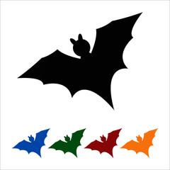 Bat icon, black silhouette on white background