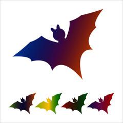 Bat icon, silhouette on white background