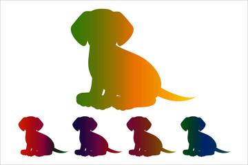 Dog icon, silhouette on white background