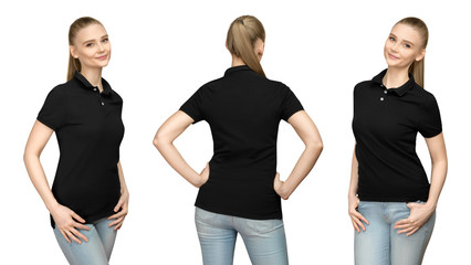 Set promo pose girl in blank black polo shirt mockup design for print and concept template young woman in T-shirt front and half turn  side back view isolated white background with clipping path