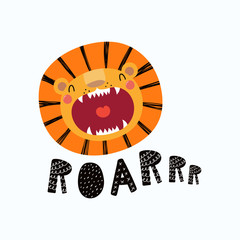 Printed roller blinds Illustrations Hand drawn vector illustration of a cute funny lion face with open mouth, lettering quote Roar. Isolated objects. Scandinavian style flat design. Concept for children print.
