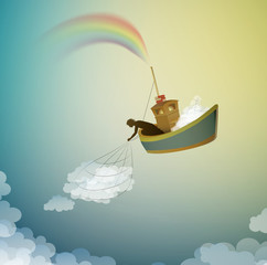 cloud keeper, creating the rainbow catching the cloud, magic ship in the dreamland, scene from wonderland,