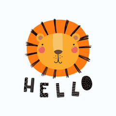 Hand drawn vector illustration of a cute funny lion face, with lettering quote Hello. Isolated objects. Scandinavian style flat design. Concept for children print.