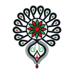 Polski folklor - rozbudowany kolorowy wzór, parzenica
