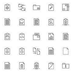 Files and folders outline icons set. linear style symbols collection, line signs pack. vector graphics. Set includes icons as clipboard with cog gear, data exchange, document file, business chart