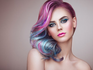 Fotobehang Kapsalon Beauty Fashion Model Girl with Colorful Dyed Hair. Girl with perfect Makeup and Hairstyle. Model with perfect Healthy Dyed Hair. Rainbow Hairstyles