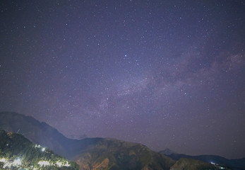 Milky Way above Himalayas mountains in Dharamshala, India